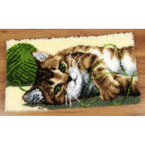 """Latch Hook Rug Kit""""Playful Cat and Wool"""" 70x40cm"""