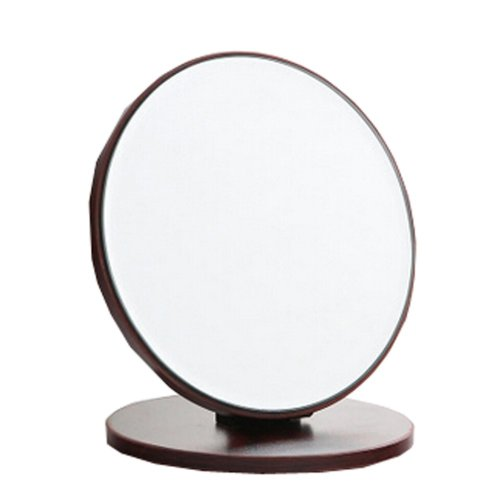 "Home Decor Wooden Mirror Single-sided Vanity Mirror Tabletop Makeup Mirror 7.48""x8.26""(Round)"