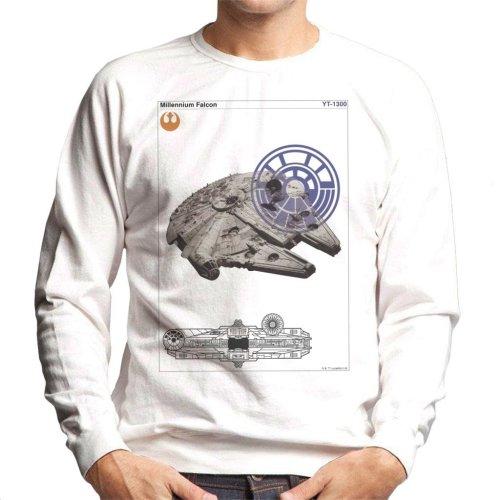 (X-Large, White) Star Wars Millenniumm Falcon Orthographic Men's Sweatshirt