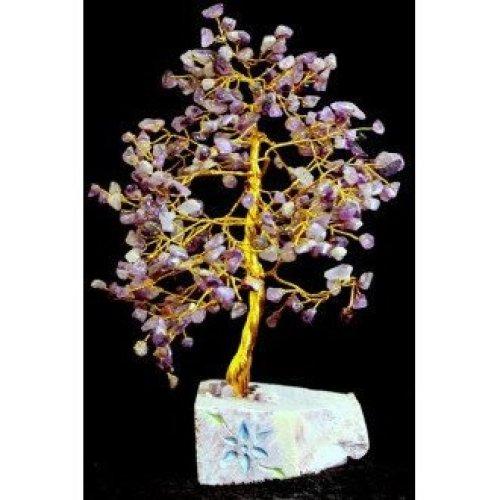 43711b626 Amethyst Gemstone Tree 320 Leaves, Handmade on a Stone Base on OnBuy