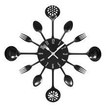 Kitchen Cutlery Wall Clock - Black