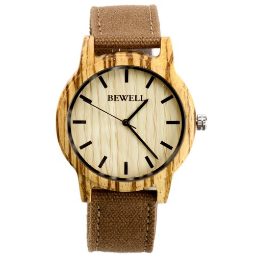 Bewell Men Women Wood Watch with Natural Zebrawood Case  Canvas Strap