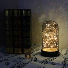 LED Fire Tree Silver Flower Romantic Glass Cover Light