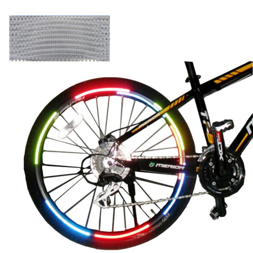 [SILVER]Unique Colour 6 Pics Reflective Bike Rim Sticker Wheel Decal Sticker