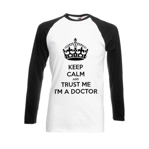 Trust Me I'm A Doctor Tumblr Funny Black/White Men Women Unisex Long Sleeve Baseball T Shirt