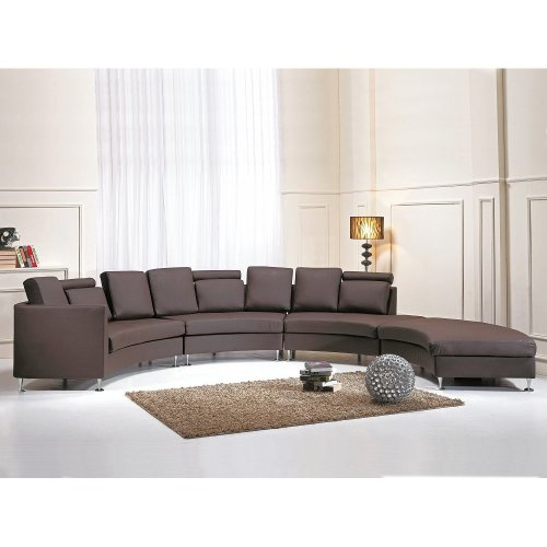 Modern Round Sectional Sofa in Leather - ROTUNDE Brown