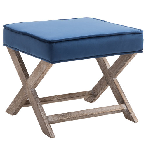 HOMCOM Vintage Footstool Padded Seat X Shape Chair Velvet Cover Shabby Chic Footrest Solid Rubber Wood Frame 49.5L x 45W x 41H(cm) Blue
