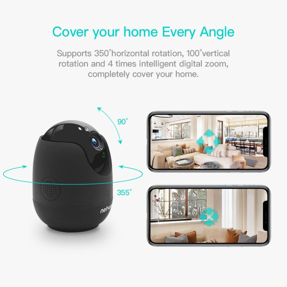 Home Security Camera,Compatible with Alexa Echo show 360 degree View,Netvue  Wireless IP Camera with Motion Detection P/T/Z,TF Card Record,2 Way