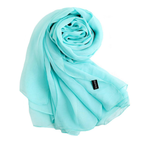 Oversized Silk Scarf Shawl Beach Wrap Scarves Neckerchief, Light Blue