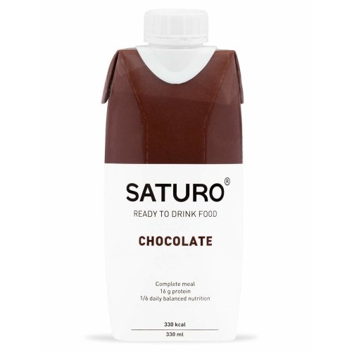 Meal Replacement Drinks Saturo, Chocolate, Nutritional Shake with Protein, 27 Essential Vitamins and Minerals, 330 kcal, Pack of 8