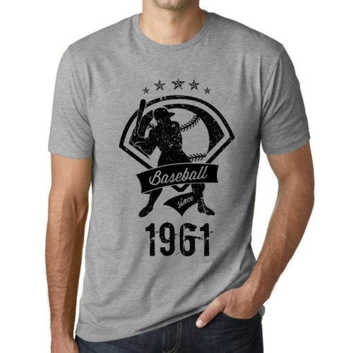 cda5f6871 Mens Vintage Tee Shirt Graphic T shirt Baseball Since 1961 Grey Marl on  OnBuy