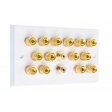 White 7.2 Speaker Wall Plate - 14 Terminals + 2 x RCA's - Rear Solder tab Connections