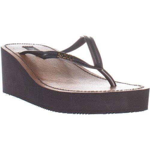 DKNY Mar Wedge Flip Flop Sandals, Pewter, 8 UK