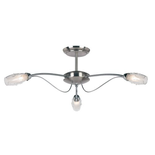 Modern 3 Arm Satin-Polished Chrome Semi Flush Ceiling Light