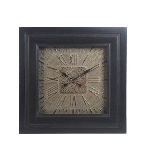 Privilege 27130 Wood & Metal Wall Clock with Glass - Dark Gray