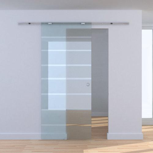 HOMCOM 2M/6.6ft Modern Sliding Barn Door Hardware Track System Kit Aluminum-alloy w/Glass Door Set