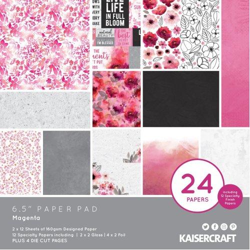 "Kaisercraft Paper Pad 6.5""X6.5"" 40/Pkg-Magenta"