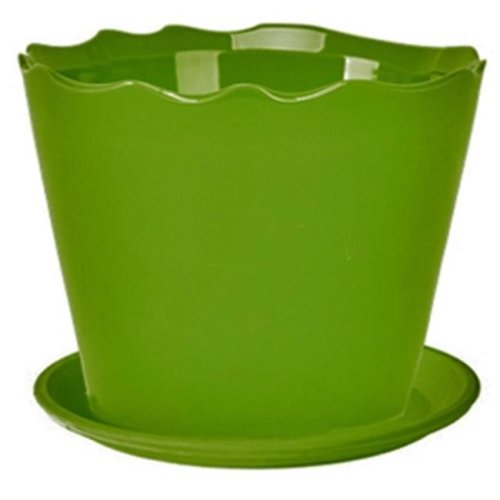 Deroma 5700370BF 5.91 in. Wavy Cylinder Planter - Green, Pack Of 12