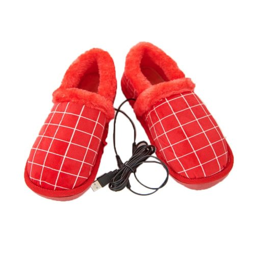 [Red Plaid] Heating Shoes Warm USB Electric Heated Slipper usb Foot Warmer for Winter 24cm