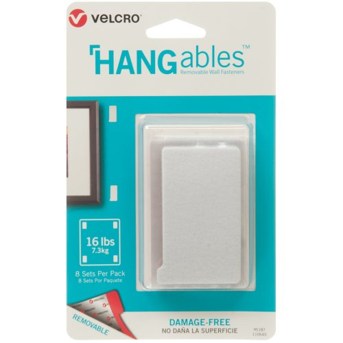 """Velcro(R) Brand HANGables Removable Wall Fasteners 3""""X1.75""""-8/Pkg, Holds Up To 16lbs"""