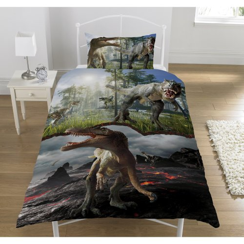 Jurassic Predators Single Panel Duvet Cover Bed Set - T Rex, Raptors