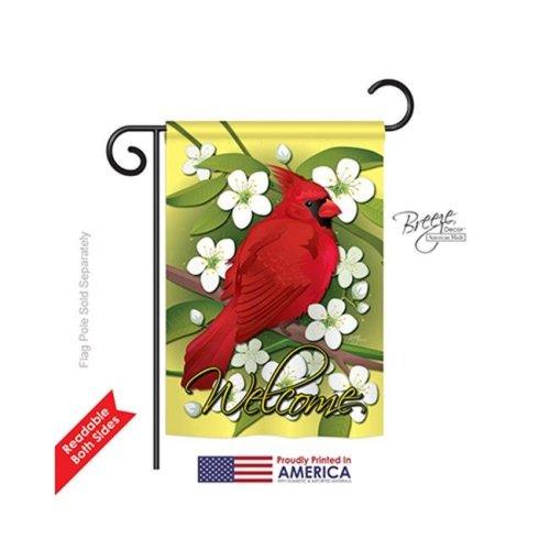 Breeze Decor 55032 Birds Cardinal 2-Sided Impression Garden Flag - 13 x 18.5 in.