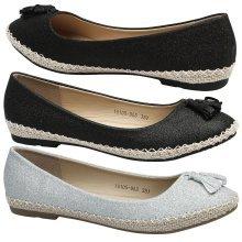 Liana Womens Flats Glitter Tassel Espadrille Dolly Shoes