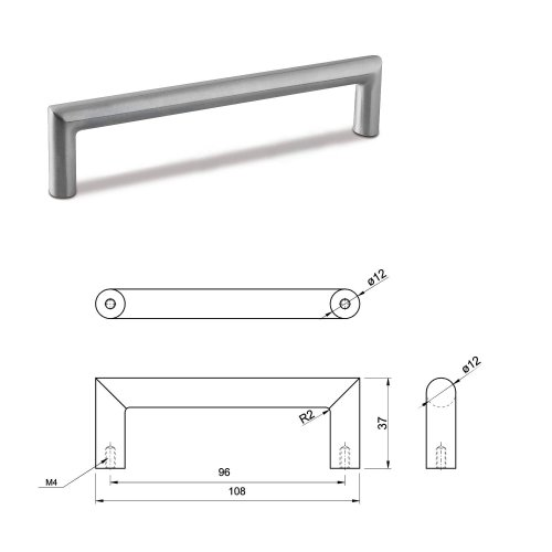 SMALL DOOR PULL HANDLE Stainless Steel C Bar Straight Bolt Fixing 96mm Pack of 1