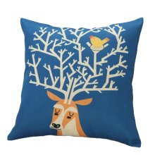 Decor Cotton Linen Decorative Throw Pillow Case Cushion Cover,Giraffe,Blue
