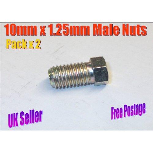 2 x Male 10mm x 1.25mm Metric Copper Brake Pipe Nuts