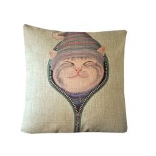 [Cat in the Hat] Zippered Decorative Throw Pillow Cover Cushion Case 45*45CM