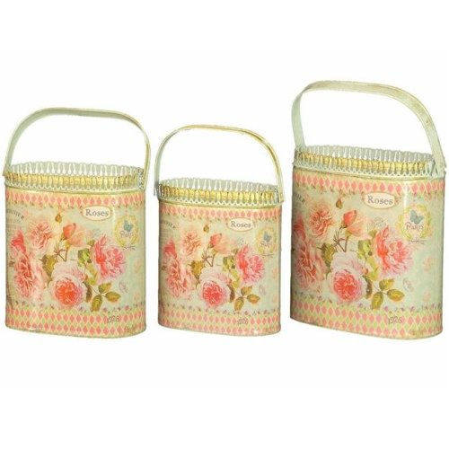 Dolce Mela DMMV559-S3 French Country Planters Vintage Metal Decorative Containers & Flower Pots - Set of 3