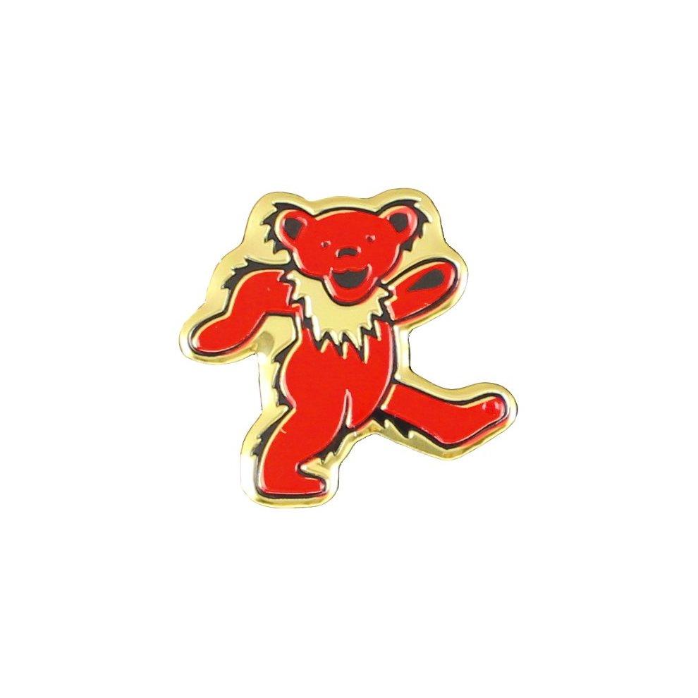 Grateful Dead Bear Metal Sticker, Gold, 3cm