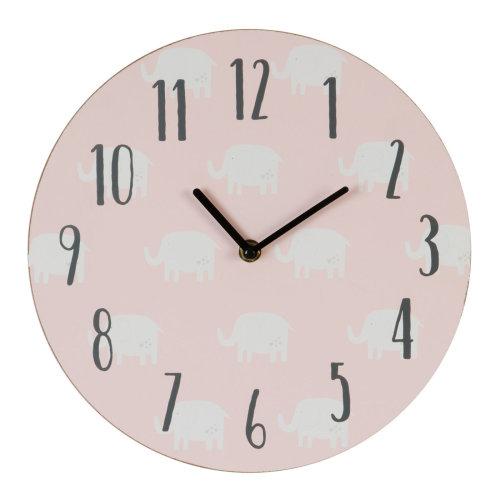 Petit Cheri Elephant Design MDF Bedroom 17cm Clock - New Baby  Girl