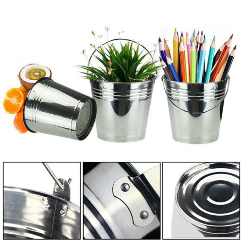 12x Kitchen Fry Mini Silver Serving Buckets Chips Food Storage Potted plant