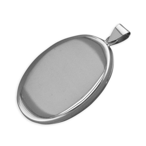 Childrens Sterling Silver Large Flat Plain Oval Locket On A Curb Necklace