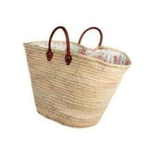 Morocco Giant Floral White Lined Palm Leaf Basket