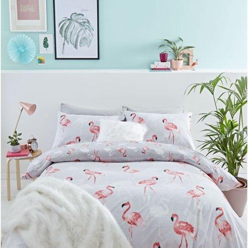 Catherine Lansfield Flamingo Easy Care Double Duvet Set Grey