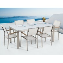 Garden Table and Chairs - Dining Set - 8 Seater - White Glass Top - White Chairs - GROSSETO