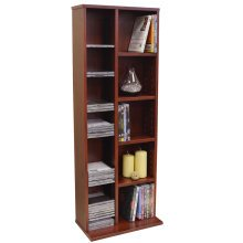 CLAREMONT - 219 CD / 56 DVD Blu-ray Video Multimedia Storage Unit - Mahogany