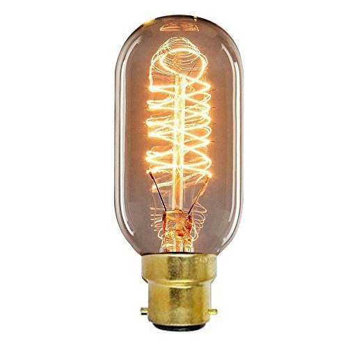 ONEPRE Vintage BC B22 Bayonet Filament Light Bulb 40W Tube Style Retro Edison Light Bulb Dimmable T45