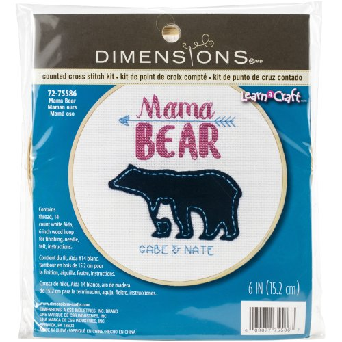 """Dimensions Counted Cross Stitch Kit W/Hoop 6""""-Mama Bear (14 Count)"""