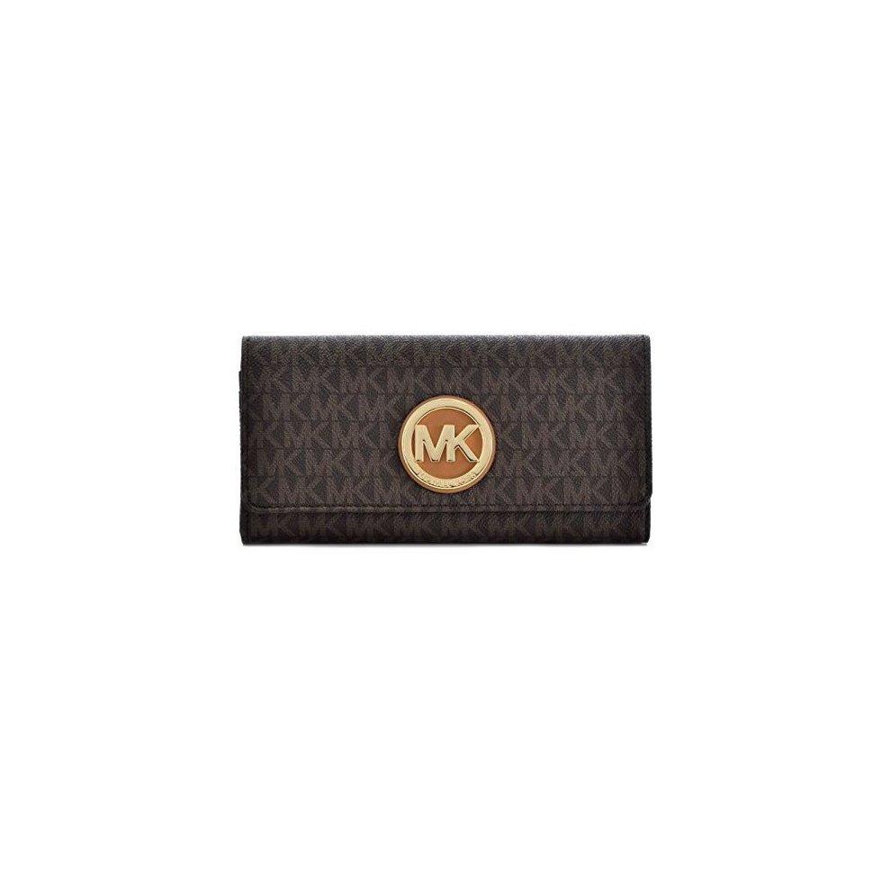 30a63d42dd578d Michael Kors PVC Leather Fulton Flap Continental Wallet - Brown -  32S7GFTE3B-200. >