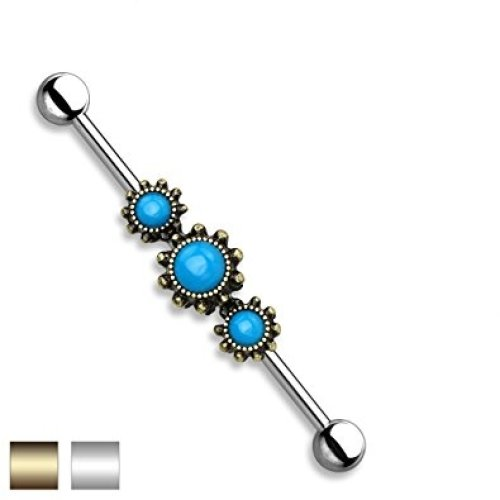 Triple Turquoise Set Beads with Detail Industrial Scaffolding Bar Piercing Thickness : 1.6mm Length : 38mm Material : Surgical Steel