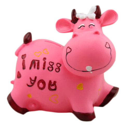 Pretty Cute Milk Cow Home Decor Ornament Money Banks Coin Banks, Pink