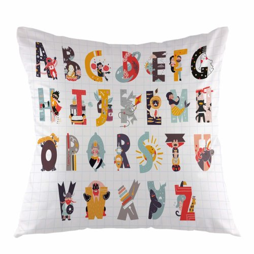 """Melyaxu Alphabet Throw Pillow Cover Cartoon Colorful Letter Pillow Case Square Cushion Cover for Sofa Couch Home Car Bedroom Living Room 18"""" x 18"""""""