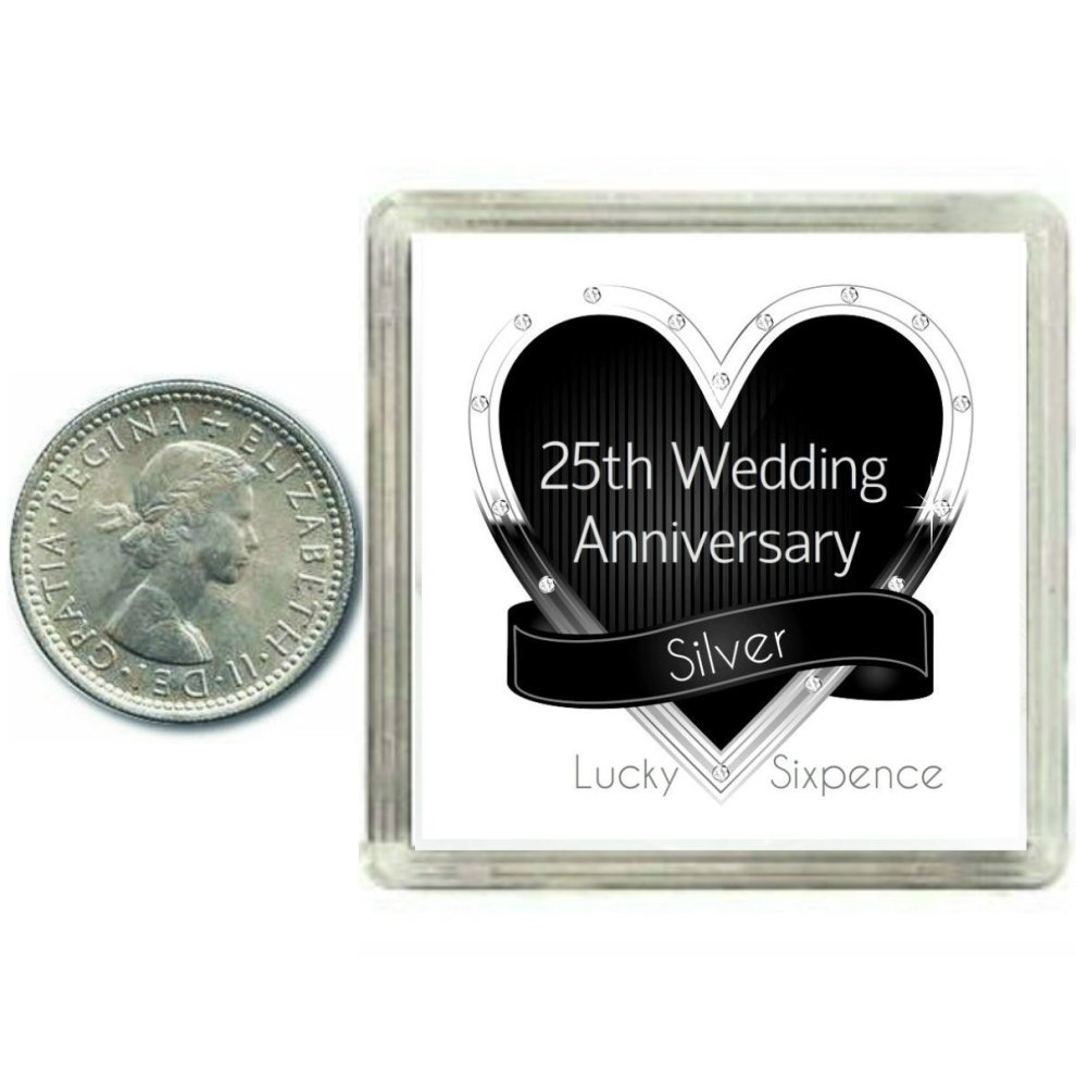 25th Wedding Anniversary Gifts.Lucky Sixpence Coin Silver 25th Wedding Anniversary Gift Great Present Idea