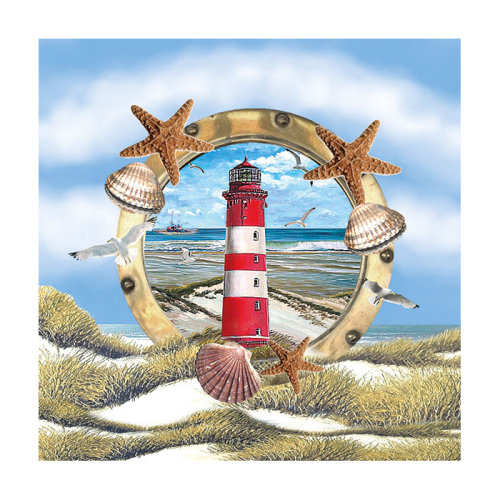 Ambiente 3 Ply Paper Lunch Napkins, Lighthouse In Partridge