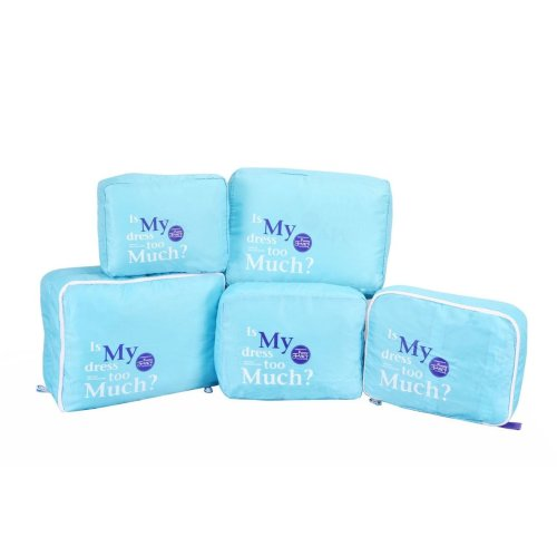 Vinsani [Blue] 5PC Travel Essential Bag-in-Bag Travel Luggage Organizer Storage Handle Bag Pouch Set