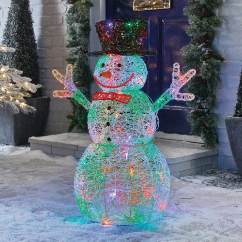 Premier Decorations - 76cm Mains Operated Indoor & Outdoor Acrylic Snowman Christmas Figure - 88 Multi Colour LED Lights on OnBuy